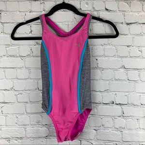 Speedo Swimsuit One Piece Pink & Blue Racerback